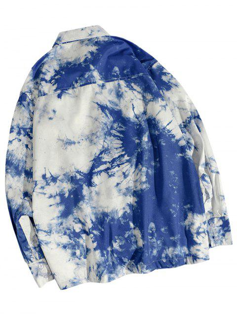 Krawattenfärbende Tasche Knopf Shirt - Ozeanblau 2XL Mobile