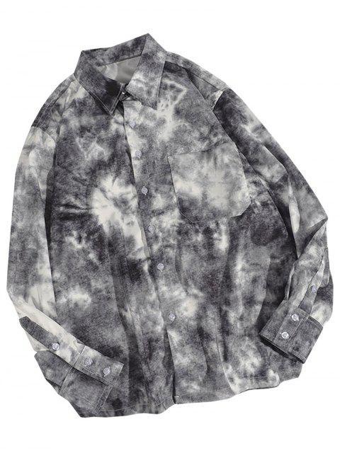 Krawattenfärbender Druck Taschen Knopf Hemd - Schwarz XL Mobile