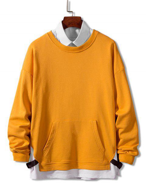 Farbblock Gespleißte Gurt Künstliche Twinset Sweatshirt - Goldgelb 4XL Mobile