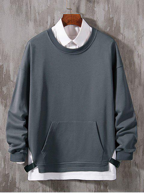 Farbblock Gespleißtes Gurt Künstliche Twinset Sweatshirt - Bewölkt Grau 3XL Mobile