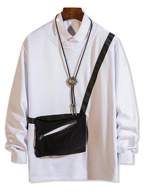 拉鍊口袋拼接圓領運動衫 - 白色 XS Mobile