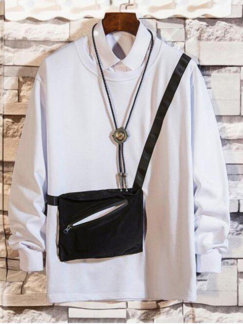 拉鍊口袋拼接圓領運動衫 - 白色 XL Mobile