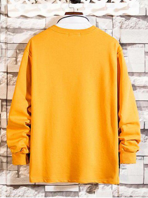 Reißverschluss Tasche Gespleißter Rundhalsausschnitt Sweatshirt - Helles Gelb XL Mobile