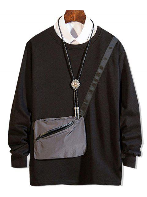 拉鍊口袋拼接圓領運動衫 - 黑色 M Mobile