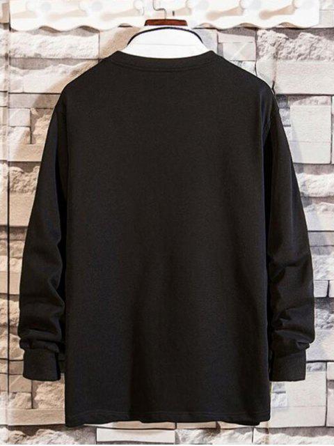 Reißverschluss Tasche Gespleißter Rundhalsausschnitt Sweatshirt - Schwarz XL Mobile