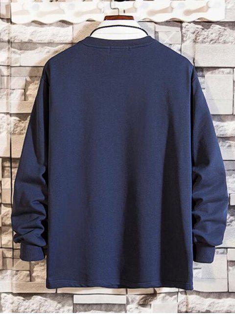 拉鍊口袋拼接圓領運動衫 - 牛仔布深藍色 XL Mobile