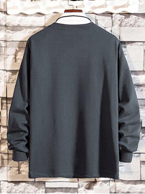 拉鍊口袋拼接圓領運動衫 - 灰色 XS Mobile