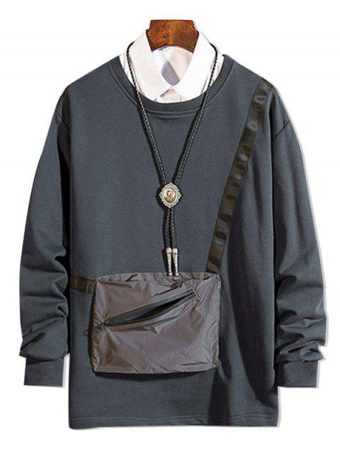 拉鍊口袋拼接圓領運動衫 - 灰色 M Mobile