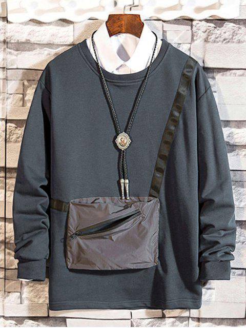 Reißverschluss Tasche Gespleißter Rundhalsausschnitt Sweatshirt - Grau XL Mobile