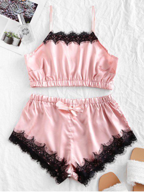 Halfter Wimpern Spitze Panel Satin Pyjama Set - Pink M Mobile