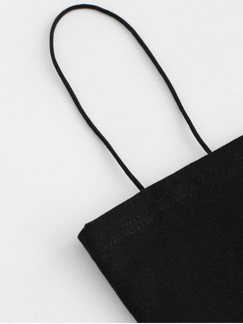 Cami Top und Hahnentritt-dünne Hosen Set - Schwarz M Mobile