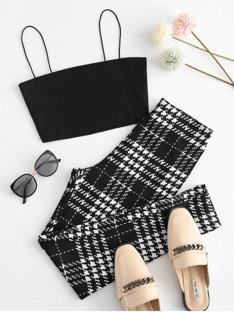 best Cami Top and Houndstooth Skinny Pants Set - BLACK S Mobile