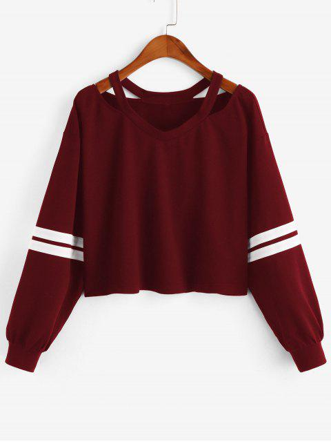 ZAFUL Streifen Kalte Schulter Sweatshirt - Roter Wein XL Mobile