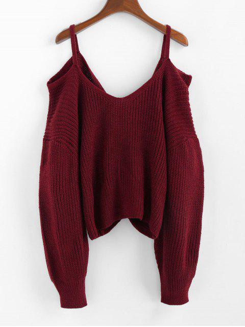outfit ZAFUL Twisted Cold Shoulder Jumper Sweater - RED WINE M Mobile