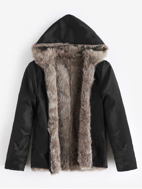 Kapuze Abnehmbarer Kunstpelz Parka Mantel mit Gürtel und zwei Pelz - Schwarz M Mobile