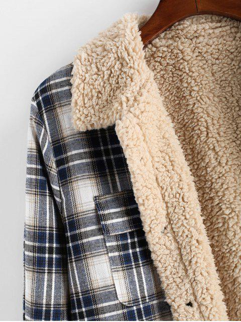 trendy ZAFUL Plaid Pattern Casual Button Fluffy Jacket - MULTI S Mobile
