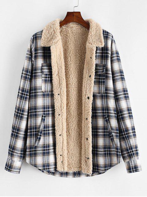 chic ZAFUL Plaid Pattern Casual Button Fluffy Jacket - MULTI M Mobile