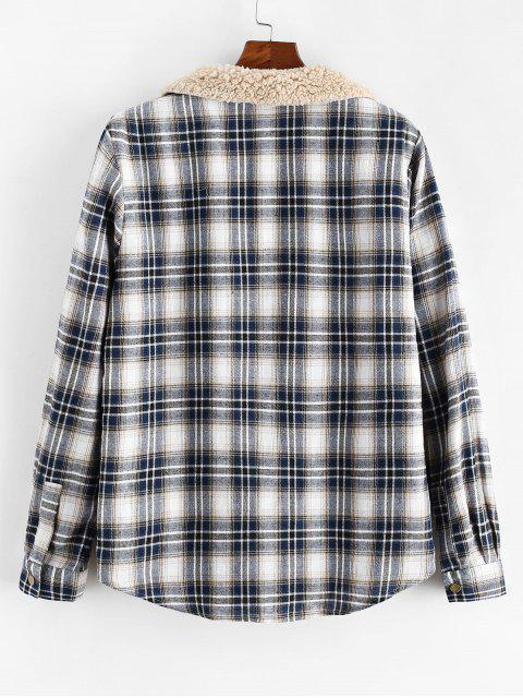 affordable ZAFUL Plaid Pattern Casual Button Fluffy Jacket - MULTI XL Mobile