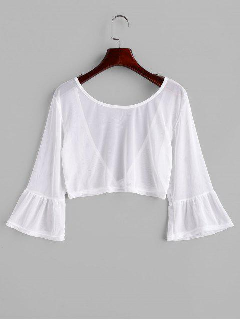 online Front Closure Sheer Mesh Top - WHITE S Mobile