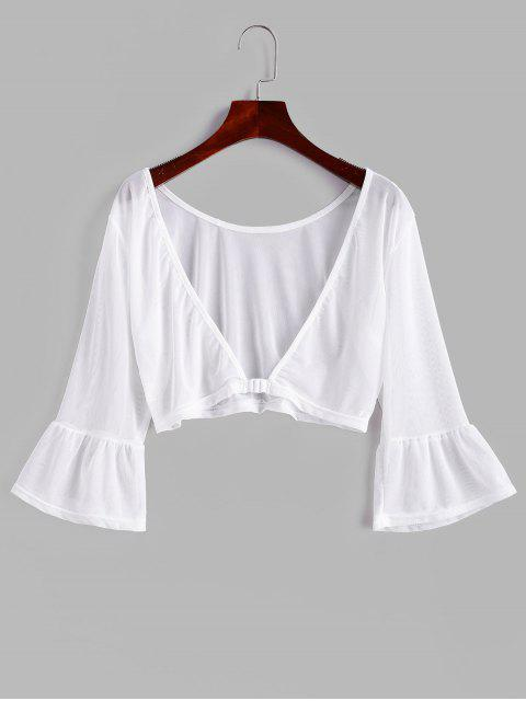 shops Front Closure Sheer Mesh Top - WHITE M Mobile