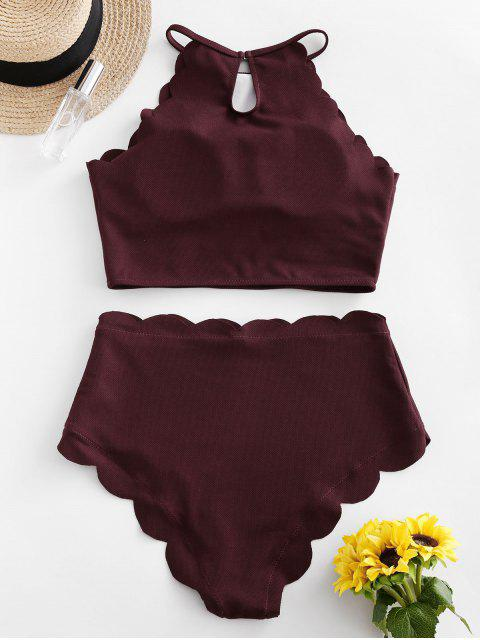 sale ZAFUL Textured Scalloped Tankini Swimsuit - RED WINE M Mobile