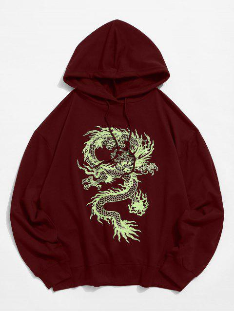 outfits Dragon Graphic Drawstring Loose Hoodie - RED WINE S Mobile
