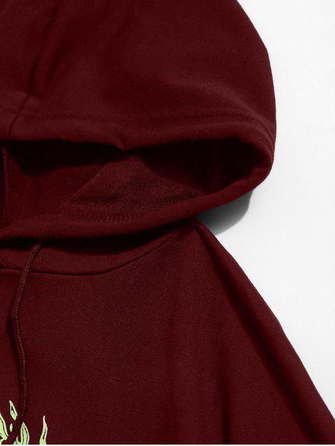 龍圖形抽繩寬鬆帽衫 - 紅酒 M Mobile