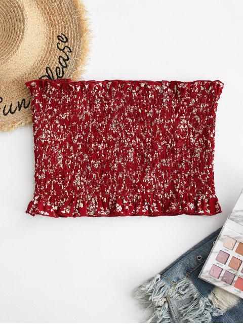 ZAFUL Top Sin Tirantes con Estampado Floral Minúsculo - Castaño Rojo XL Mobile