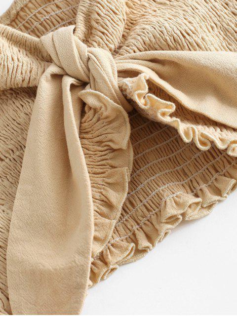 ZAFUL Conjunto de Pantalones de Palazzo con Cintura Alta con Volantes - Albaricoque L Mobile