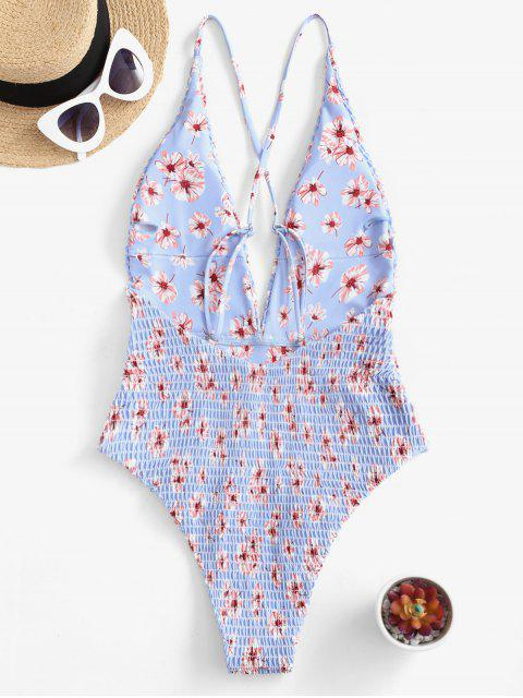 affordable ZAFUL Floral Smocked Plunge Criss Cross Swimsuit - SEA BLUE L Mobile