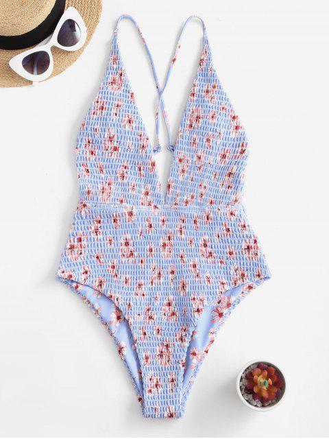 ZAFUL الزهور Smocked يغرق متقاطع ملابس السباحة - البحر الأزرق L Mobile