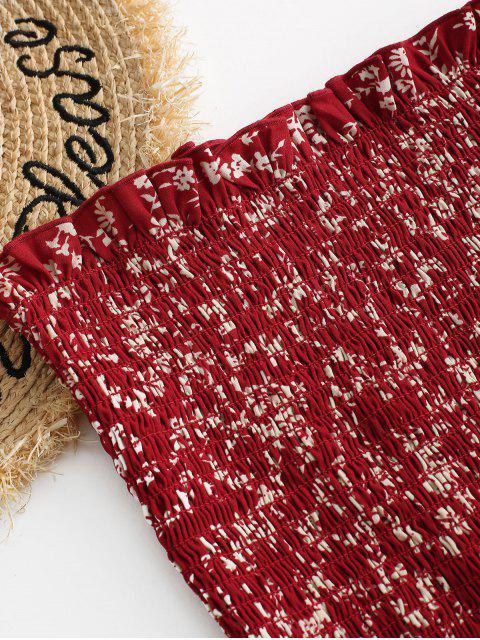 ZAFUL Pequenas do Top sem Alças com Franzido da Floral - Castanha Vermelha L Mobile
