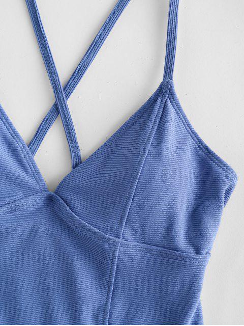 affordable ZAFUL Ribbed Crisscross Princess Seam One-piece Swimsuit - CORNFLOWER BLUE XL Mobile