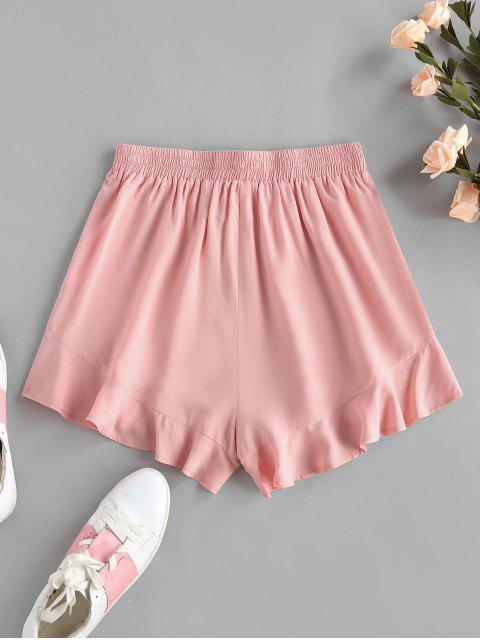 hot ZAFUL Flounce Tie Elastic Waist Shorts - ROSE L Mobile