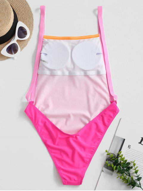 women's ZAFUL Neon Drop Armhole Backless High Cut Swimsuit - HOT PINK XL Mobile