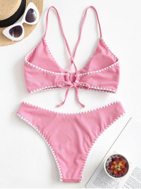 chic ZAFUL Ribbed Whip Stitch Criss Cross Bikini Swimsuit - HOT PINK M Mobile