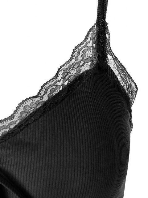 ZAFUL Camisole Courte en Dentelle Insérée avec Nœud Papillon - Noir L Mobile