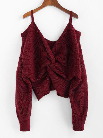 ZAFUL Twisted Cold Shoulder Jumper Sweater - Red Wine S