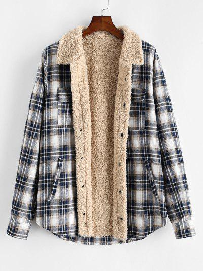 ZAFUL Plaid Pattern Casual Button Fluffy Jacket - Multi Xl