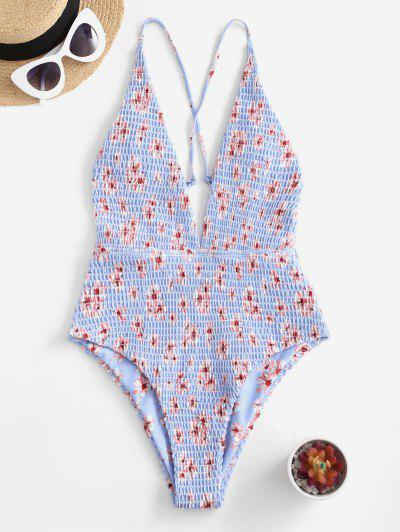 ZAFUL Floral Smocked Plunge Criss Cross Swimsuit - Sea Blue S