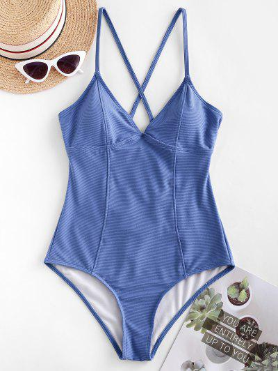 ZAFUL Ribbed Crisscross Princess Seam One-piece Swimsuit - Cornflower Blue M