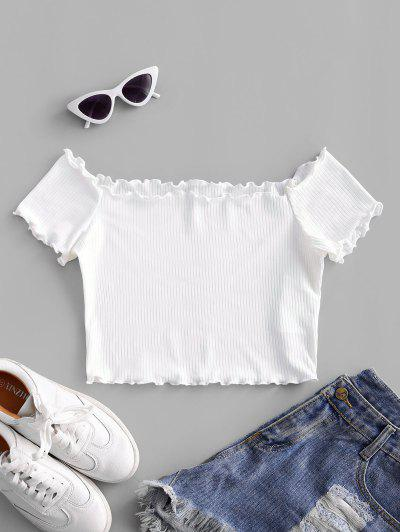 ZAFUL Off Shoulder Lettuce Trim Crop Tee - White S