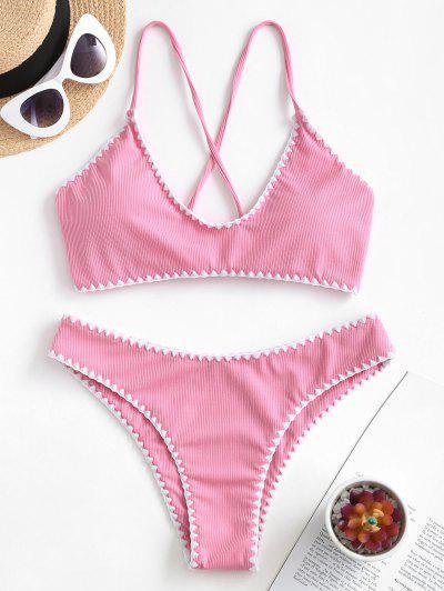 ZAFUL Gerippter Bikini-Badeanzug Mit Peitschenstich Und Kreuzstich - Helles Rosa M