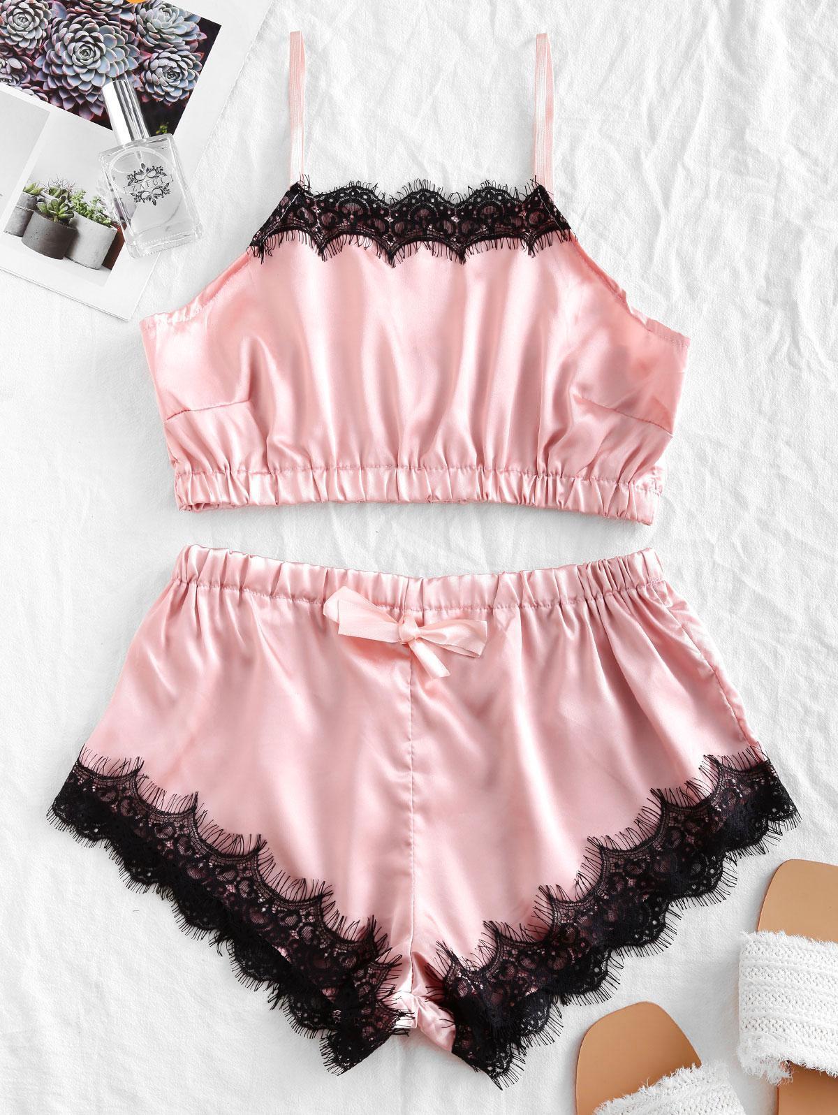 Halter Eyelash Lace Panel Satin Pajamas Set