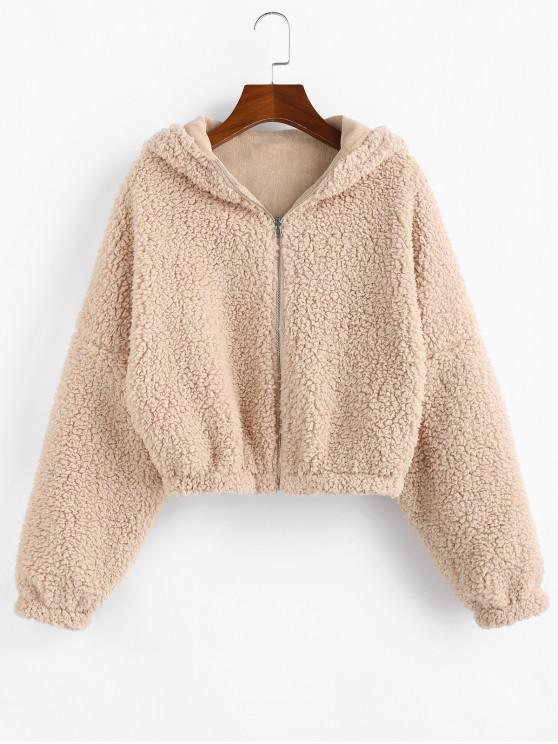 outfit ZAFUL Corduroy Faux Shearling Reversible Teddy Coat - APRICOT M