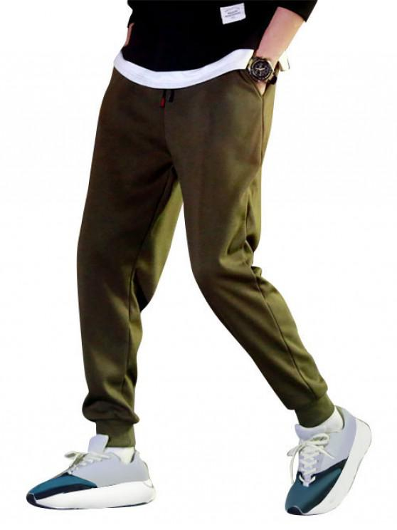 womens Solid Color Fuzzy Jogger Pants - ARMY GREEN M