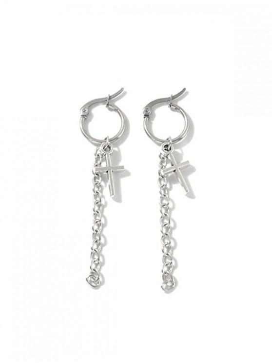 new Cross Chain Hoop Drop Earrings - SILVER