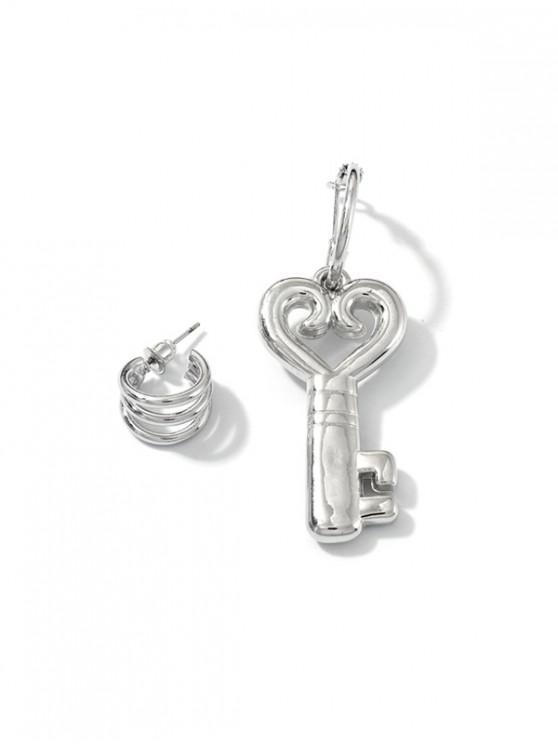 空心心鑰匙不對稱耳環 - 銀