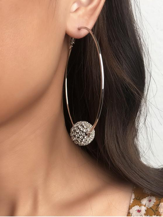 latest Brief Rhinestone Ball Hoop Earrings - SILVER
