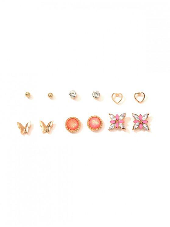 trendy 6Pairs Butterfly Heart Stud Earrings Set - GOLD